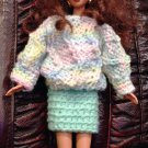 Barbie doll Knitteed Green Set: Sweater and mini Skirt