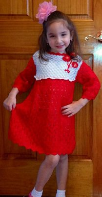 PATTERN - Red Lace Dress fot a girl
