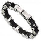 QGSRB199     Stainless Steel Black Rubber Bracelet