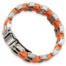 QGSRB186-8     Stainless Steel Orange Rubber 8in Bracelet