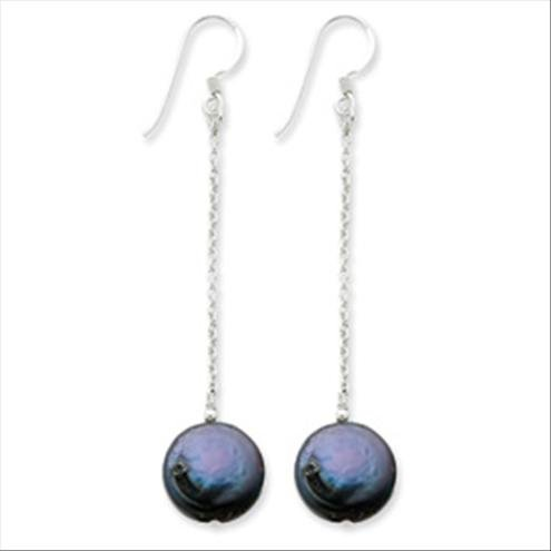 QGQE2580     Sterling Silver Peacock Cultured Biwa Coin Pearl Earrings
