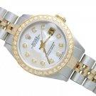 White MOP Diamond Dial Datejust Rolex Lady Watch Bracelet Two Tone Weman