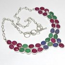 Ruby Blue Sapphire Emerald Gemstone 925 Silver Necklace Size 18""