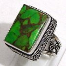 Elegance Green Copper Turquoise Gemstone 925 Sterling Silver Mens Ring Size 10