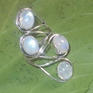 Rainbow Moonstone Gemstone 925 Silver Handmade Wire Raped Gift Ring Size 10.5