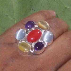 Coral ring - Cats Eye Ring - Amethyst Ring - Bezel set ring  925 Silver Ring 8.5