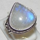 Natural Heart Shape Rainbow Moonstone 925 Sterling Silver Overlay Ring Size 10