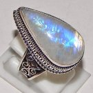 Elegance Pear Rainbow Moonstone Gemstone 925 Sterling Silver Overlay Ring Size 9