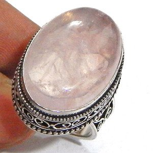 Ethnic Style Pink Rose Quartz Gemstone 925 Sterling Silver Overlay Ring Size 9