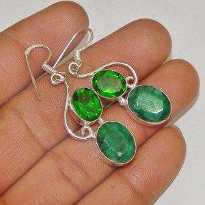 Natural Emerald Peridot Gemstone 925 Sterling Silver Overlay Dangle Earrings