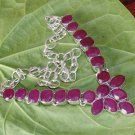 Kashmir Red Ruby Gemstone Fashion 925 Silver Necklace Adjustable Size 18.5""