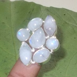 Blue Fire Rainbow Moonstone Ring- 925 Silver Gemstone Multi Stones Ring Size 9