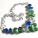 Peridot Blue Quartz Crystal Necklace- 925 Silver Fancy Choker Necklace 18.5""