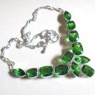 "Peridot Gemstone Necklace- 925 Silver Fantasy Choker Necklace Adjustable 18"""