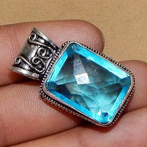 Jewelry handicraft Royal Blue Topaz Gemstone 925 Sterling Silver Overlay Pendant