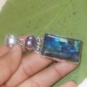 Natural Blue Flashing Labradorite Fresh Water Pearl 925 Silver Gemstone Pendant
