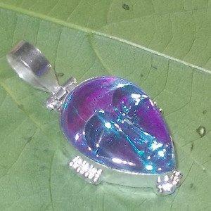 Unique Multicolor Face Carved Glass 925 Silver Handmade Pendant Jewelry