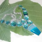 "Blue Agate & Blue Topaz 925 Silver Blue Color Gemstone Choker Necklace 18.5"""