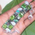 "Blue Flashing Labradorite Moonstone Peridot Opal Multi 925 Silver Bracelet  6.5"""