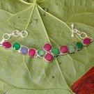 "Sakota Mines Kashmiri Ruby Emerald Blue Sapphire 925 Silver Bracelet Size 6.5"""