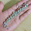 "Green Amethyst  Fantasy 925 Silver Handmade Bracelet Adjustable Size 6.5"""