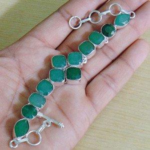 "Sakota Mines Indian Kashmir Green Emerald Gems 925 Silver Adjustable Size 6.5"""