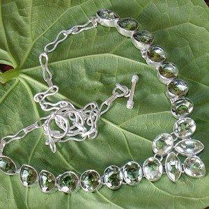 "Green Amethyst Necklace-925 Silver Gemstone Necklace Adjustable Size 18.5"""
