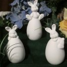ceramic bisque U paint Easter bunnies on eggs lot of 3 spring/summer decoration