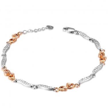 "14K Rose White Gold Diamond-Cut Infinity Segment Bracelet 6.5"" Wedding Bridal Gift B05439B"