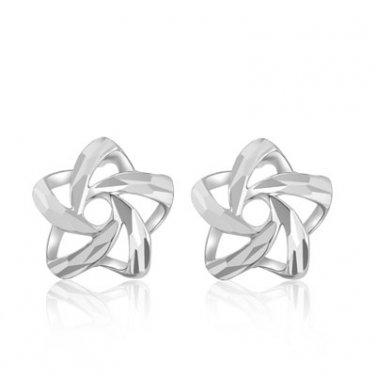 14K White Gold Mini Open Diamond-Cut Star Stud Earrings Perfect Birthday Jewelry Gift B05765E
