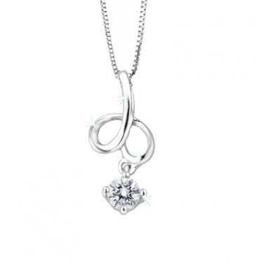 "0.11cttw 18K White Gold Diamond Solitaire Tiny Leaf Pendant W/925 Sterling Silver Chain 16"" F03433P"
