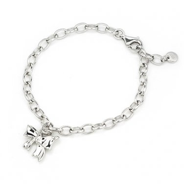 "Hypoallergenic Platinum Plated 925 Silver Ribbon Bow Butterfly Bracelet (6.5"") Birthday Gift C05576B"