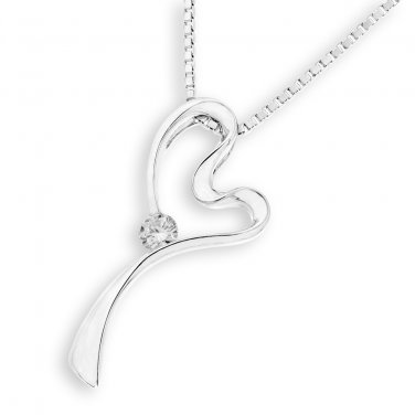 "0.08ct Diamond 18K White Gold Ribbon Heart Necklace W/ 16"" 925 Silver Chain S06824P Jewelry"