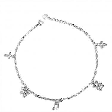 """14K White Gold Diamond-Cut Cross Dog Bear Music Charm Anklet (8"""") C05680K"""