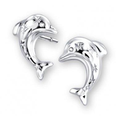 14K White Gold Dolphin Snowflake Diamond-Cut Stud Earrings Jewelry Teen Girl Gift C04658E