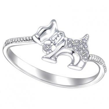 Milgrain Pet Dog Schnauzer 0.04cttw Diamond 18K White Gold Women Fashion Ring Gift S06958R