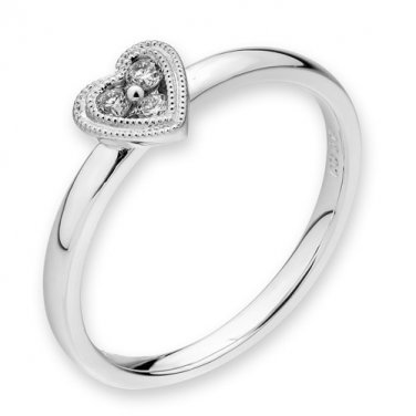18K White Gold 0.06cttw Diamond Accent Double Milgrain Heart Women Wedding Proposal Ring S07130R