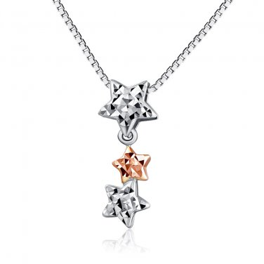 "14K Rose & White Gold Diamond-Cut Triple Stars Necklace 16"" Gift Fashion Jewelry C04174P"