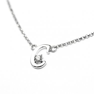 0.05ct Diamond 18K White Gold Initial Letter Necklace Bridesmaid Christmas Gift S05667N-C