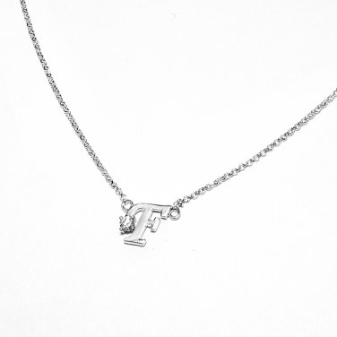 0.05ct Diamond 18K White Gold Initial Letter Necklace Bridesmaid Christmas Gift S05667N-F