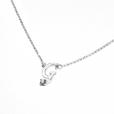 0.05ct Diamond 18K White Gold Initial Letter Necklace Bridesmaid Christmas Gift S05667N-G