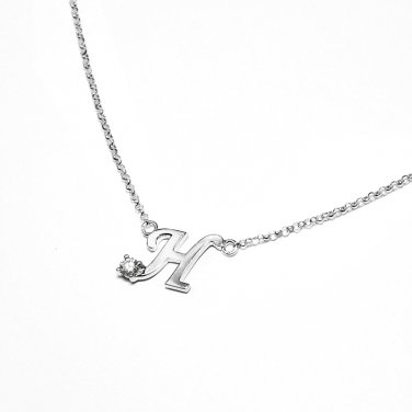 0.05ct Diamond 18K White Gold Initial Letter Necklace Bridesmaid Christmas Gift S05667N-H