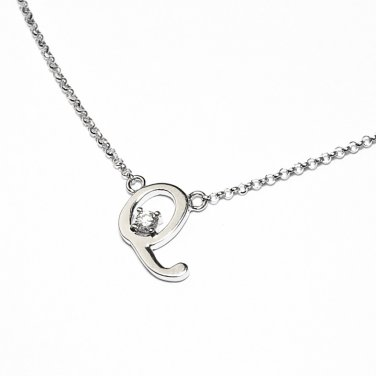 0.05ct Diamond 18K White Gold Initial Letter Necklace Bridesmaid Christmas Gift S05667N-Q