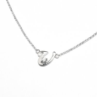 0.05ct Diamond 18K White Gold Initial Letter Necklace Bridesmaid Christmas Gift S05667N-U