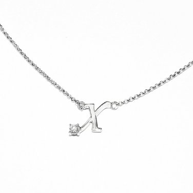 0.05ct Diamond 18K White Gold Initial Letter Necklace Bridesmaid Christmas Gift S05667N-X