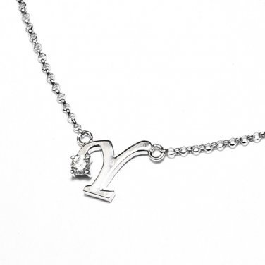 0.05ct Diamond 18K White Gold Initial Letter Necklace Bridesmaid Christmas Gift S05667N-Y