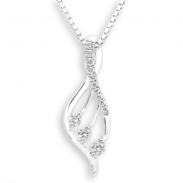 18K White Gold Filigree Angel Wing 0.15cttw Diamond 925 Silver Necklace Jewelry Gift J12772P