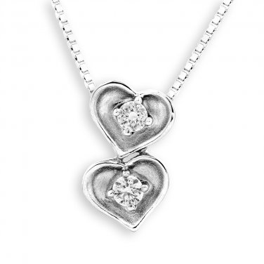 18K White Gold Vintage Style Double Heart 0.15cttw Diamond 925 Silver Necklace Jewelry Gift S07278P
