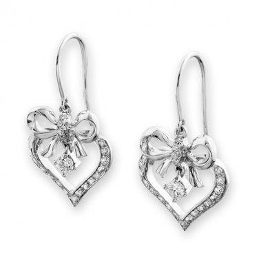 18K White Gold Heart Ribbon Bow 0.47cttw Diamond Dangling Hook Earrings, Valentines Gift S07121E