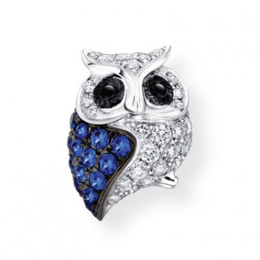 18K White Gold Oxidized Diamond Sapphire Owl SINGLE Stud Earring Fashion Jewelry Gift S08011L